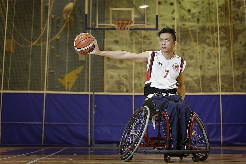 Choo Poh Choon is not afraid of falling from his wheelchair when the action gets heated up on court. The game has taught him to toughen up and fend for himself.
