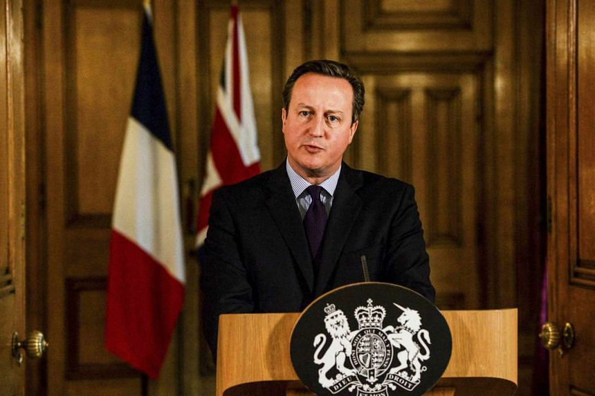 Britain's Prime Minister David Cameron delivering a statement at Number 10 Downing Street in London, Britain on Nov 14, 2015.