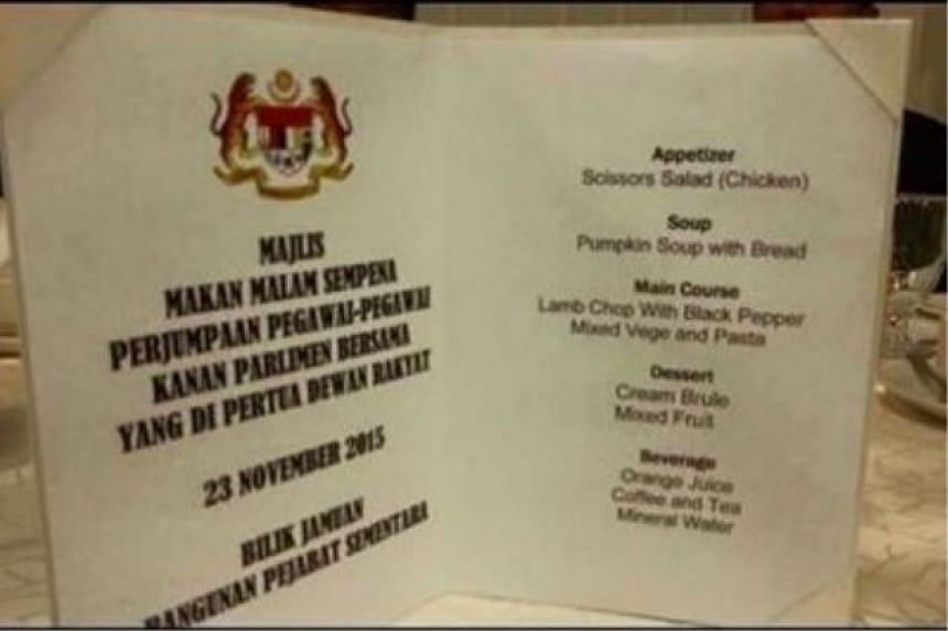 A copy of the menu with the spelling errors. It was replaced before the dinner on Nov 23, 2015.