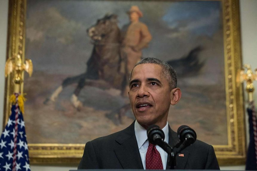 US President Barack Obama makes his statement in the Roosevelt Room at the White House.