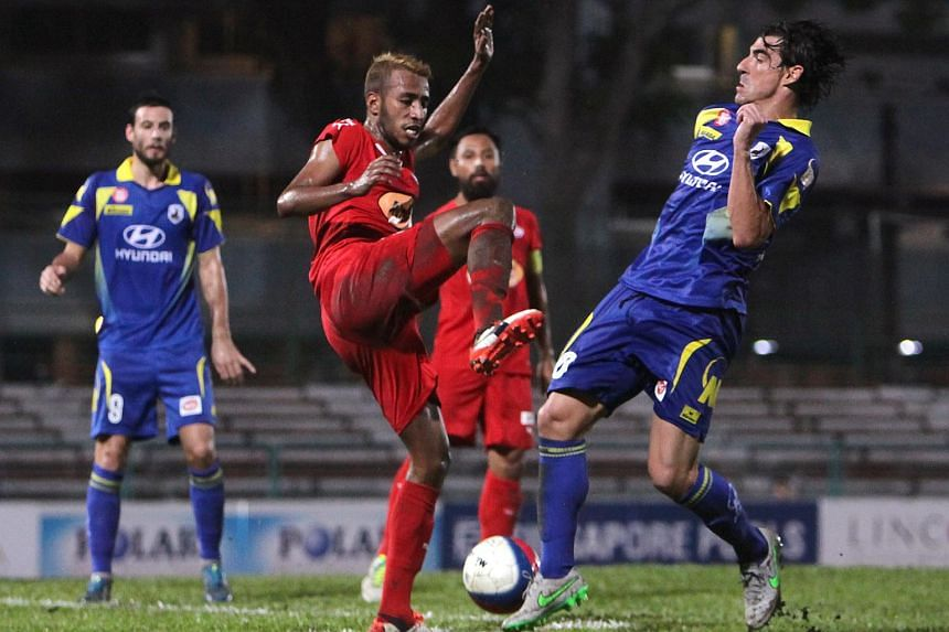 Home United (in red) in an S-League match against Tampinese Rovers on Nov 8.