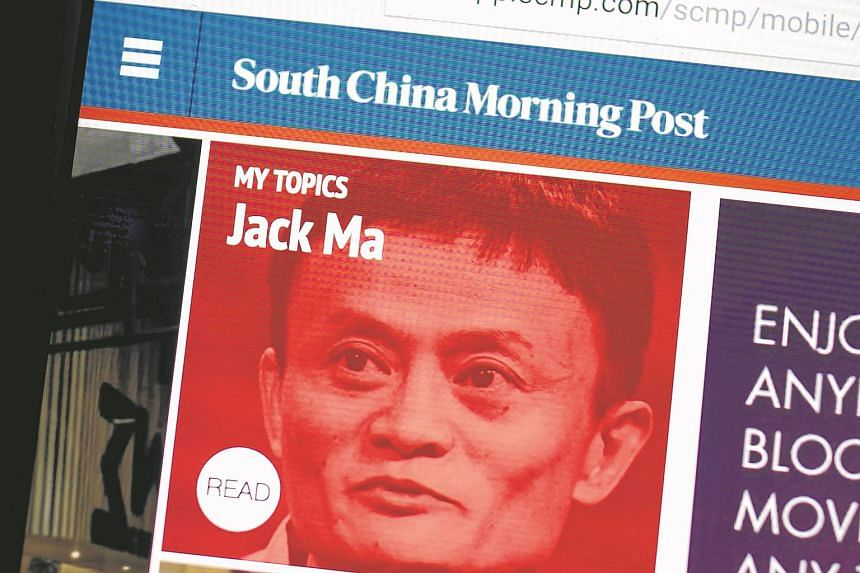 A photo illustration shows the South China Morning Post website with the face of Jack Ma, founder and executive chairman of Alibaba Group.