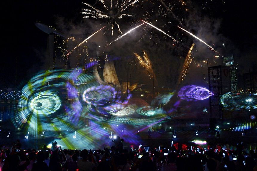 The light and pyromusical show during the launch of the SG Heart Map Festival.