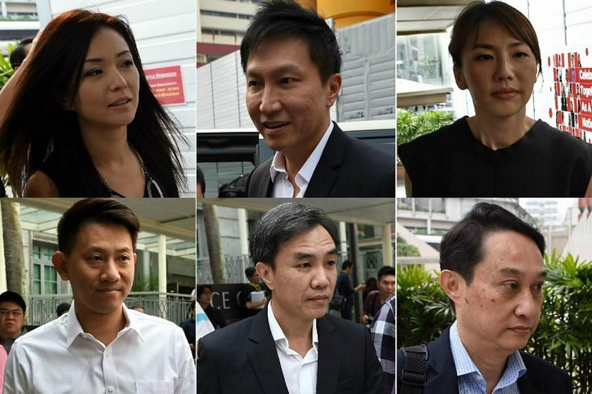 City Harvest leaders (clockwise from top left) Serina Wee, Kong Hee, Sharon Tan, Chew Eng Han, John Lam and Tan Ye Peng on Oct 21.