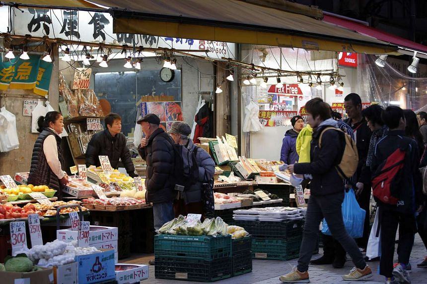 Shoppers at the Ameya Yokocho market in Tokyo's Ueno district on March 23, 2015.