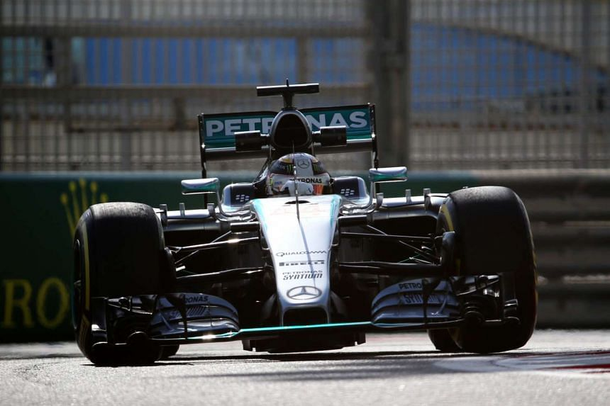Lewis Hamilton drives during the first practice session at the Yas Marina circuit in Abu Dhabi on Nov 27, 2015.