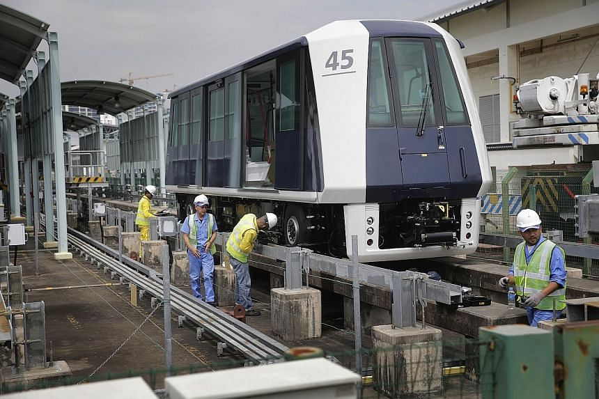 The first two of 16 new train-cars for the Sengkang-Punggol LRT line were delivered on Wednesday morning to the Sengkang depot, where they will undergo tests before being put into operation next year. The 16 train-cars, which will boost the fleet siz