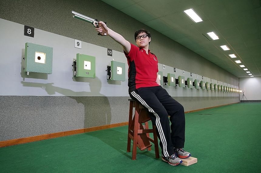 "Alvina Neo opted for air pistol shooting because her shoulder injury ruled her out of ""99.9 per cent of the sports"" offered at next week's Asean Para Games. She is targeting a personal best result."