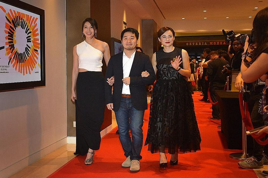(From left) Taiwanese actress Sonia Sui, Taiwanese film-maker Lee Chung and Malaysian actress Yeo Yann Yann attending the opening of the Singapore International Film Festival yesterday at Marina Bay Sands.