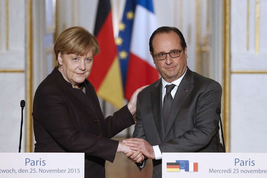 WEDNESDAY: Mr Hollande met his closest ally, German Chancellor Angela Merkel in Paris, where he urged Germany to commit more to the struggle against ISIS. That secured a commitment from Germany to send Tornado reconnaissance jets to support operation