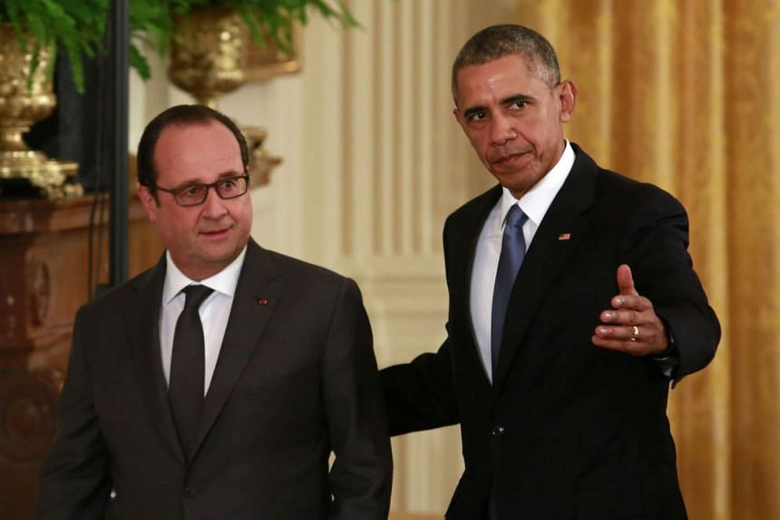 TUESDAY: Mr Hollande's next stop on his diplomatic offensive was Washington, where he held discussions with US President Barack Obama. The two leaders agreed at the meeting that ISIS was a threat that could not be tolerated and to step up air strik
