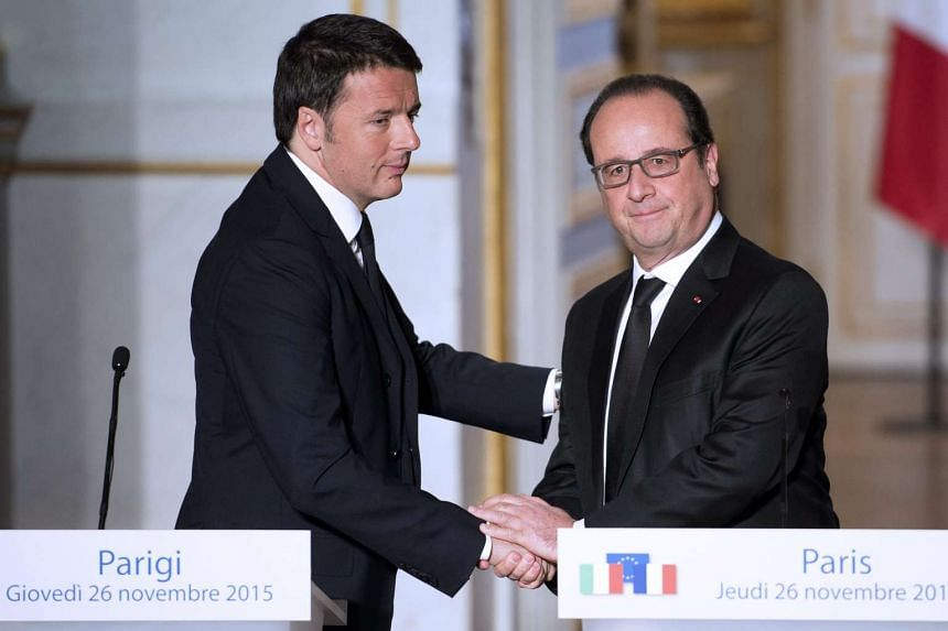YESTERDAY: Mr Hollande met Italian Prime Minister Matteo Renzi in Paris. They agreed that there was an urgent need for international efforts to battle ISIS in Libya amid chaos and a power vacuum that have helped the terror group gain ground. In a joi
