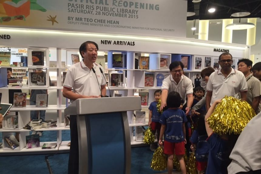 DPM Teo Chee Hean speaking at the library's opening.