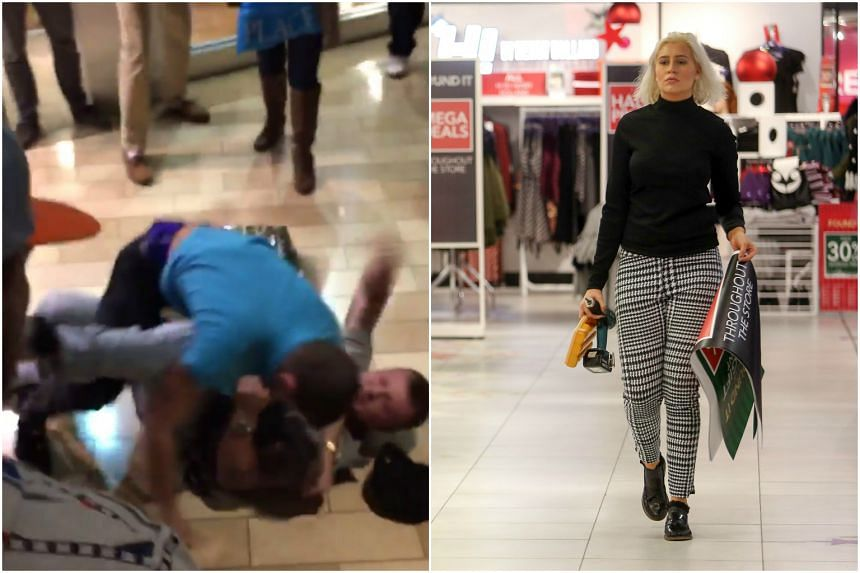Brawls among shoppers across the US were captured in videos (left) as the Black Friday sale season started, but malls around Britain were serene.