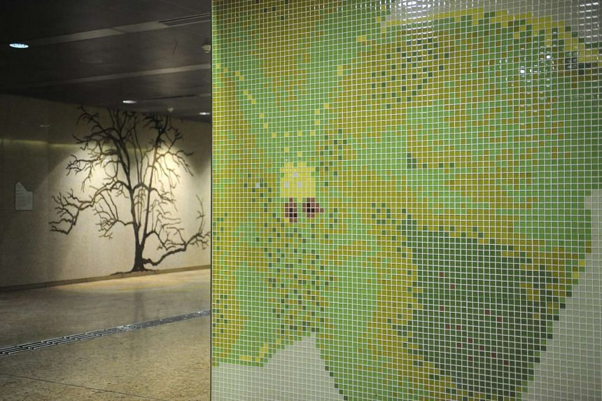 Tour of the Art in Transit works at Downtown Line 2 stations.
