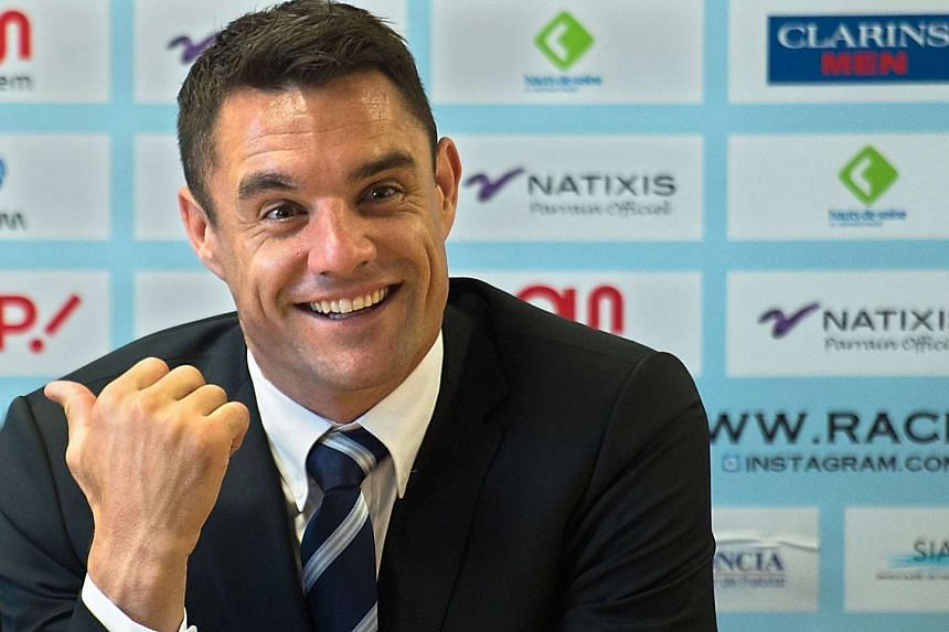 New Zealand's fly half Dan Carter holding a press conference at Racing Metro 92's training base in Le Plessis-Robinson on Nov 27.