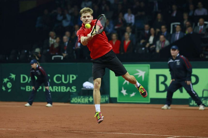 Belgium's David Goffin in action during his match against Great Britain's Kyle Edmund in the Davis Cup Final at Flanders Expo, Ghent, Belgium on Nov 27, 2015.