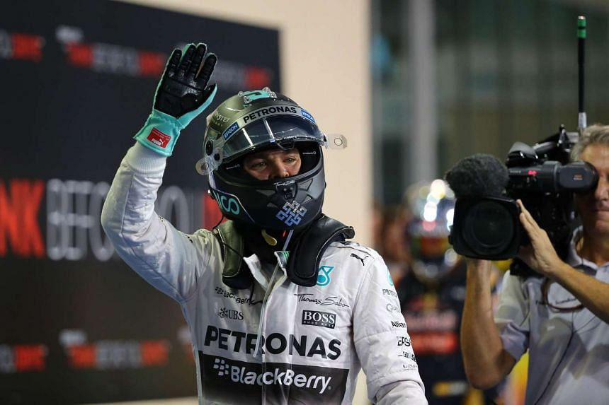 Mercedes AMG Petronas F1 Team's German driver Nico Rosberg celebrates after the qualifying session in Abu Dhabi on Nov 28, 2015.