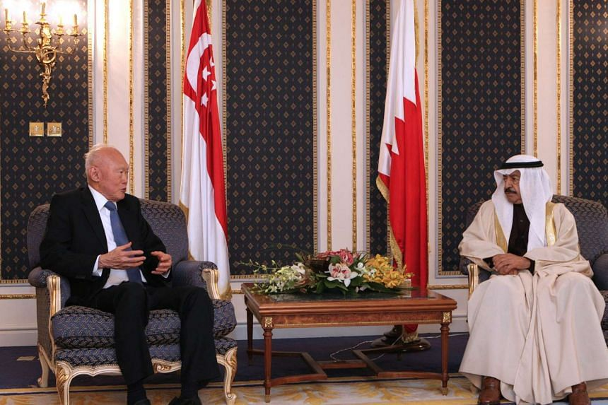 Singapore's Minister Mentor Lee Kuan Yew meeting Bahrain Prime Minister Shaikh Khalifa Salman Al-Khalifa in March 2008, in his first visit to the Gulf country since 1978.
