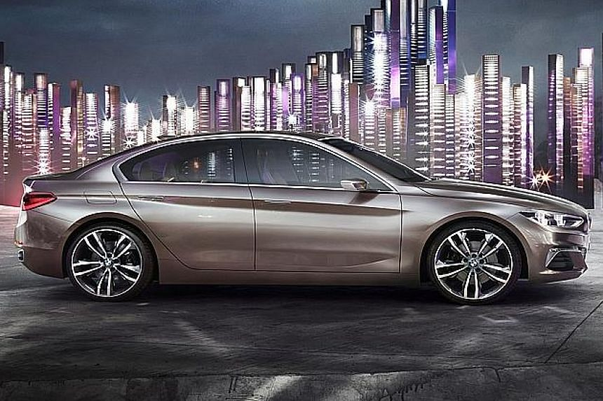 """BMW has unveiled a """"compact sedan concept"""" that is deemed as its first front- wheel-driven saloon model."""
