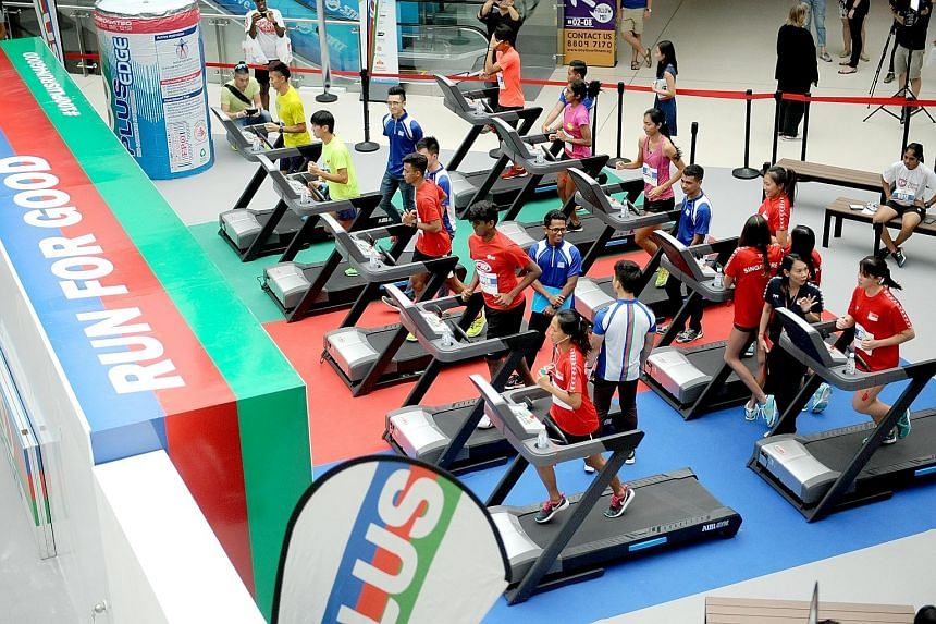 National sprinters Shanti Pereira, Dipna Lim-Prasad and Calvin Kang were among those who hit the treadmills yesterday at the Run for Good event organised by isotonic sports drink brand 100Plus at the Kallang Wave Mall. For each kilometre the athletes