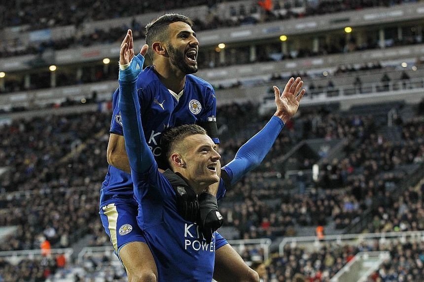 Jamie Vardy, celebrating with Algerian Riyad Mahrez after scoring against Newcastle last Saturday, gave United plenty of grief when the Red Devils last visited Leicester's King Power Stadium in September last year.
