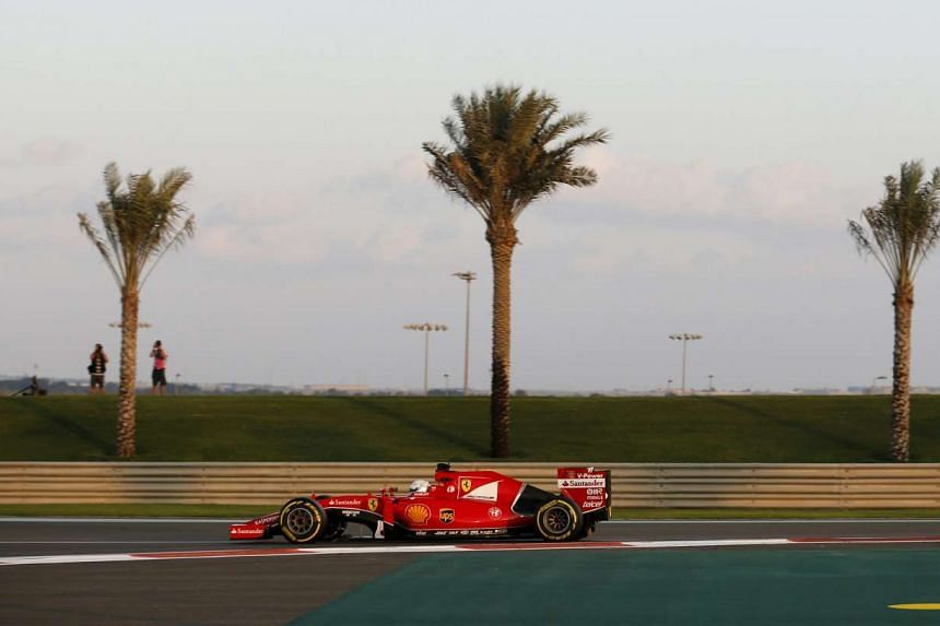 Ferrari Formula One Driver Sebastian Vettel of Germany driving during the second free practice session of Abu Dhabi F1 Grand Prix on Nov 27, 2015.