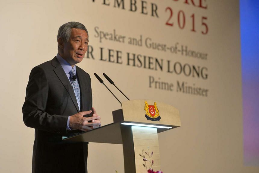 PM Lee Hsien Loong speaking at the S. Rajaratnam Lecture on Nov 27, 2015.