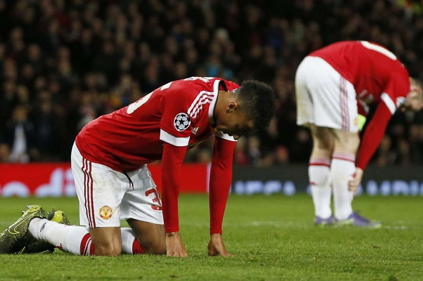 Manchester United's Jesse Lingard looking dejected after missing a chance to score.