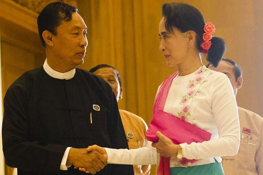 Myanmar's parliamentary speaker Shwe Mann (left) and Ms Aung San Suu Kyi meeting in Naypyidaw on Nov 19.