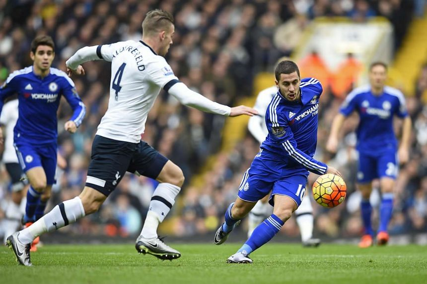Chelsea's Eden Hazard (right) trying to gain possession of the ball against Tottenham Hotspur's Toby Alderweireld during their Premier League match at White Hart Lane on Nov 29, 2015.