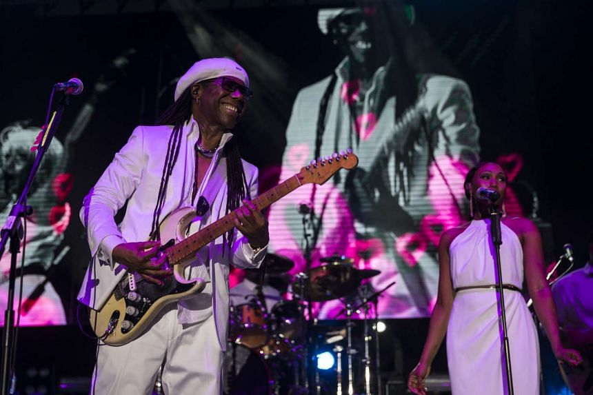 CHIC frontman Nile Rodgers performing during outdoor music festival Neon Lights at Fort Canning Park on Nov 28, 2015.