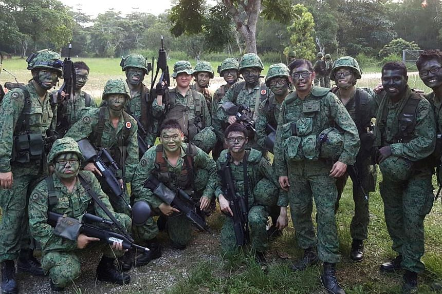 823 SIR commanding officer lieutenant colonel Darren Tan (fourth from right) places emphasis on bonding and teamwork as he posted an online note, thanking his men.