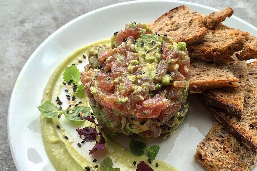 Avocado wasabi tuna tartare.