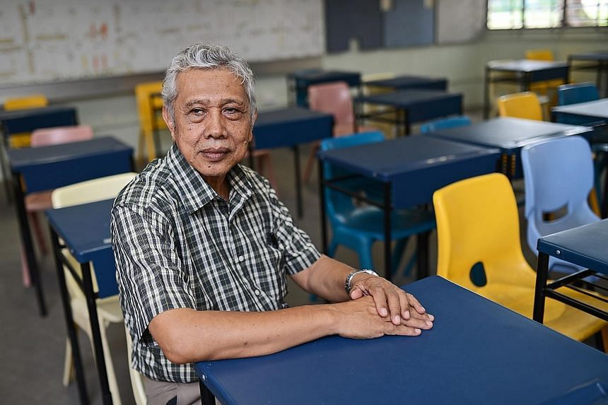 Mr Sapii Osman says it has become more challenging to teach these days, with students being more exposed to English and weaker in Malay in general. The grandfather of five has been at Jurong Secondary for so long that he has taught three generations