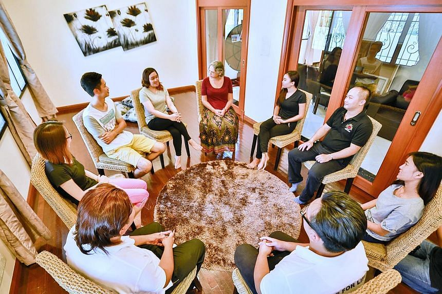A reenactment at Solace Sabah drug rehab centre of a counselling session. These overseas drug rehab centres say their Singapore clients are getting younger - a key worry for the Singapore authorities. Yoga forms part of the recovery process at the So