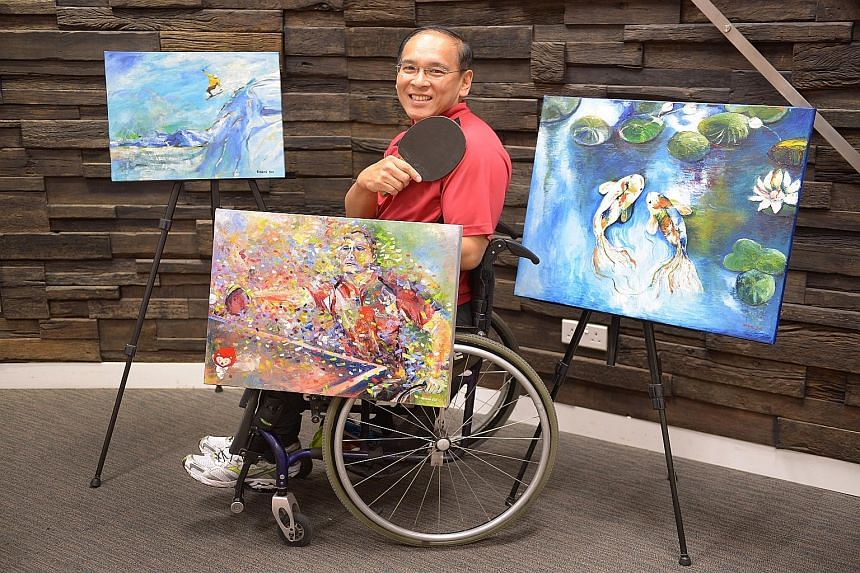 Eugene Soh with some of his art works. The 52-year-old, who is a self-employed mathematics tutor, took up painting as a therapeutic outlet before venturing outdoors to play wheelchair tennis and table tennis.
