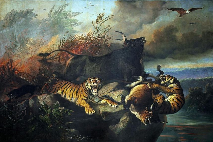 Forest Fire (1849) by Raden Saleh Sjarif Boestaman, a pioneer of modern art in Indonesia. In Liu Kang's Artist And Model, which depicts a Balinese woman posing for his friend Chen Wen Hsi, the painter used brighter colours than he normally would have