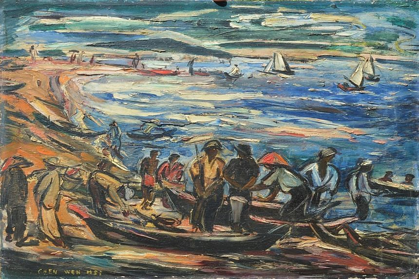 Chen Wen Hsi's oil painting, Sorting The Day's Catch, sold for $170,000 at an auction of Asian and South-east Asian works here in June.