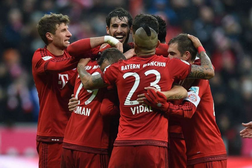 Bayern Munich players celebrate after the second goal.