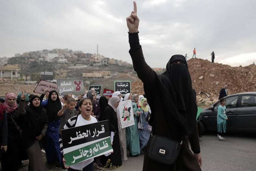 Arab-Israelis protest the ban of the radical branch of the Islamic Movement by Israel.