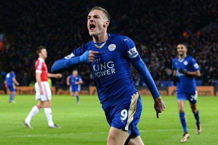 Leicester City's English striker Jamie Vardy celebrates after scoring.