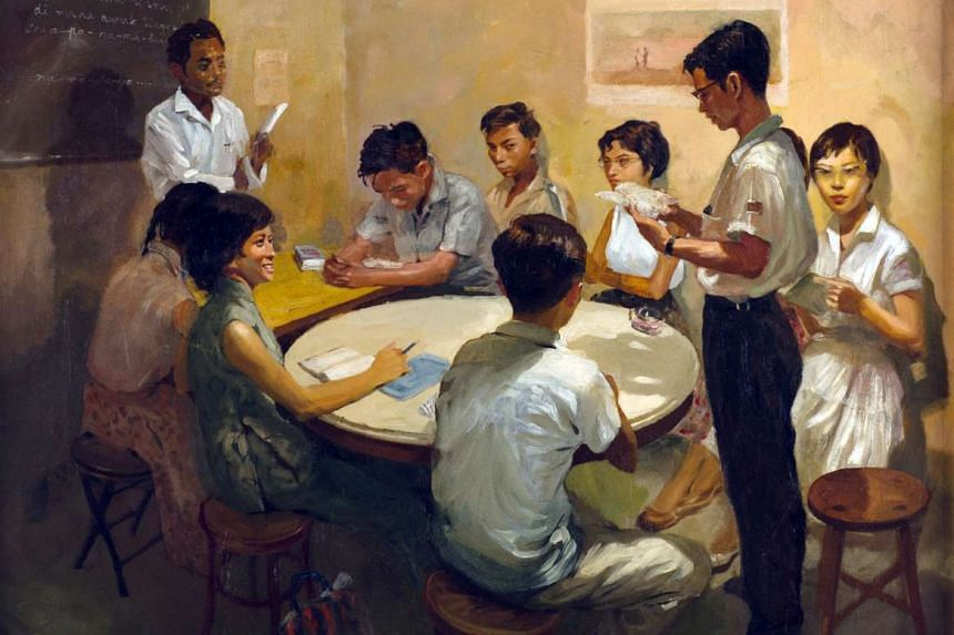 National Language Class (1959), an oil on canvas by Chua Mia Tee, depicts students learning Malay ahead of the expected merger of Malaya and Singapore.