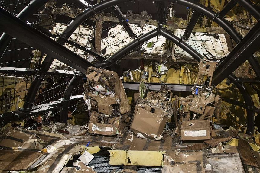 The reconstructed cockpit of the Malaysia Airlines Flight MH17.