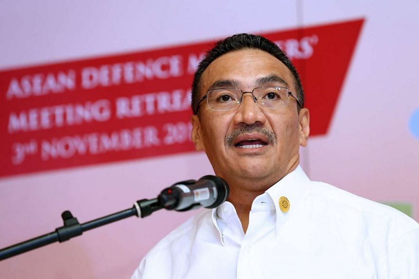 Malaysia's Defence Minister Hishammuddin Hussein speaking at a news conference at the ASEAN Defence Ministers Meeting in Kuala Lumpur, Malaysia, Nov 3, 2015.