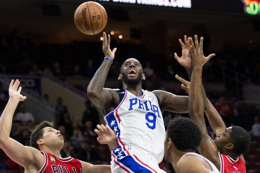 Philadelphia 76ers guard JaKarr Sampson (9) loses control of the ball while going for a shot against the Chicago Bulls during the second half at Wells Fargo Center.