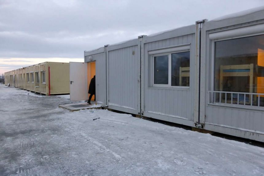A reception centre for asylum seekers is pictured in Kirkenes, northern Norway, on Nov 11, 2015. As winter sets in, Norway's Arctic frontier with Russia is becoming one of the fastest-growing routes for asylum seekers to enter Western Europe.