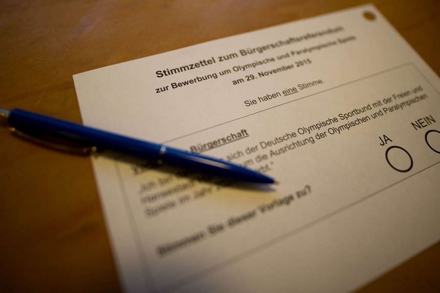 A ballot of a referendum whether Hamburg should push ahead to host the 2024 Olympics is pictured at a polling station in Hamburg, northern Germany on Nov 29, 2015.
