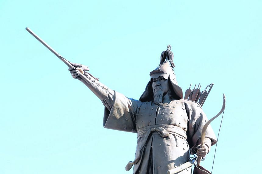 This statue of the revered Admiral Yi Sun Sin - unveiled at the Naval Academy in Changwon, South Korea, on Friday - is the first in the country to depict him with a bow and arrows, instead of a sword. The admiral is most famous for defeating 330 Japa