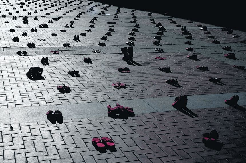 """A total of 1,800 red women's shoes were placed at the Plaza Mayor of Valladolid in Spain as part of an installation to mark the """"International Day for the Elimination of Violence Against Women"""" last Wednesday. The event, which was also marked in Fran"""